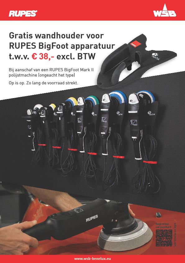 Gratis wandhouder voor RUPES BigFoot apparatuur